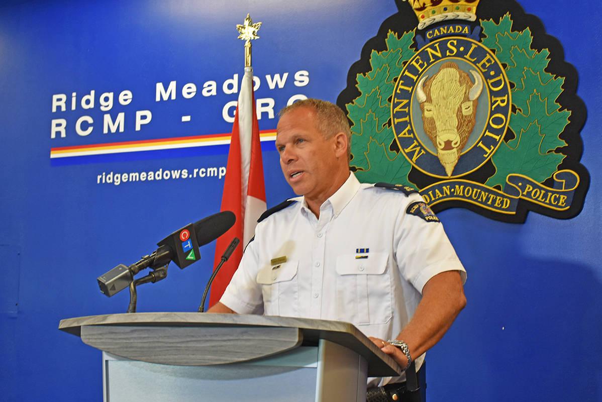 Ridge Meadows RCMP Insp. Aaron Paradis relates details of the detachment's largest-ever seizure. (Neil Corbett/The News)