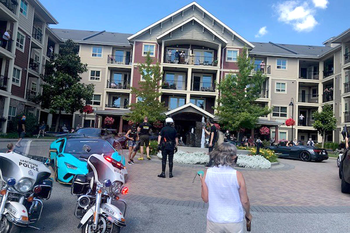When a bunch of VPD cruisers, police motorcycles, and high-end luxury cars rolled into the courtyard at Avalon Gardens Sunday afternoon (Aug. 9, 2020), residents were all cheers. It was a special drive-by parade by members of the Driven Project, and this was their first visit to a seniors home. (Avalon Gardens/Special to Langley Advance Times)