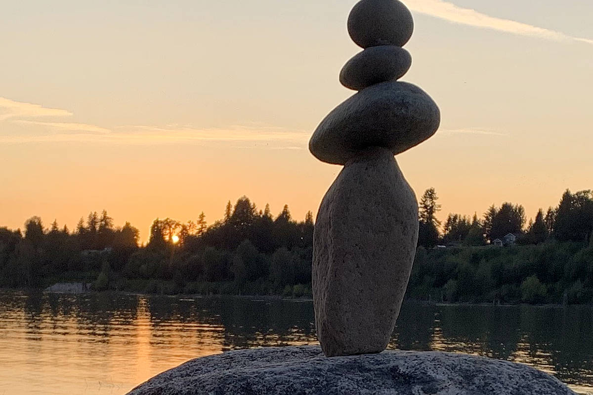 Suzanne Hof shared a picture of her inuksuk, while she watched the sunset over the Fraser River Pitt Meadows. This view was from Edgewater Bar In Derby Reach Regional Park in Langley on Wednesday, Aug. 12 2020. (Special to Langley Advance Times)