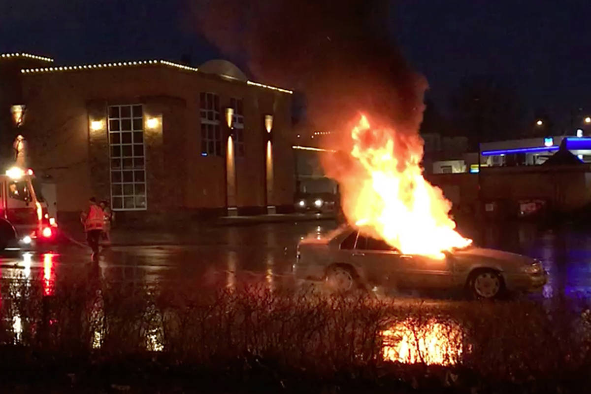 A 19-year-old man died accidentally after smoking fentanyl in a bong using a blow torch causing this car fire in a Chilliwack parking lot on Dec. 1, 2017. (Chilliwack Progress file)