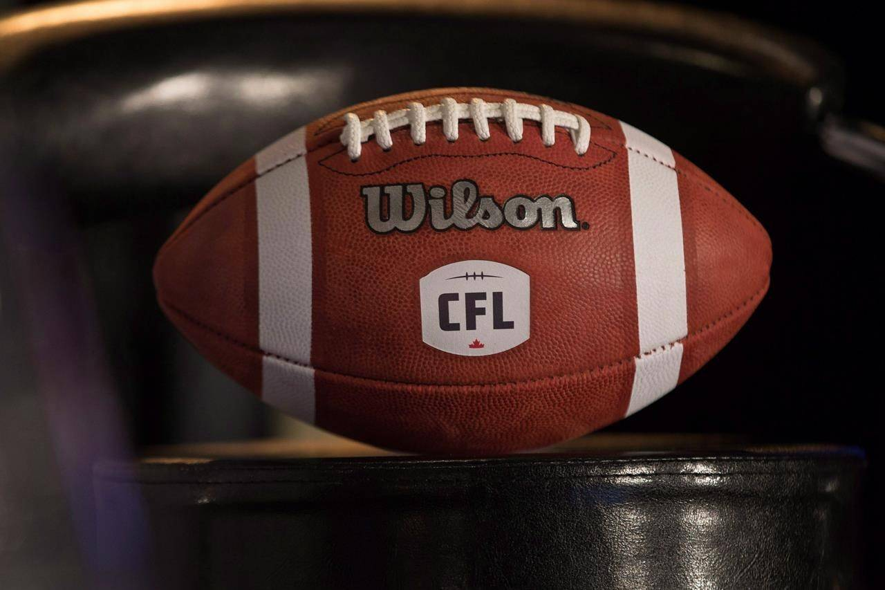 FILE – A football with the new CFL logo sits on a chair in Winnipeg, Friday, November 27, 2015. THE CANADIAN PRESS/John Woods