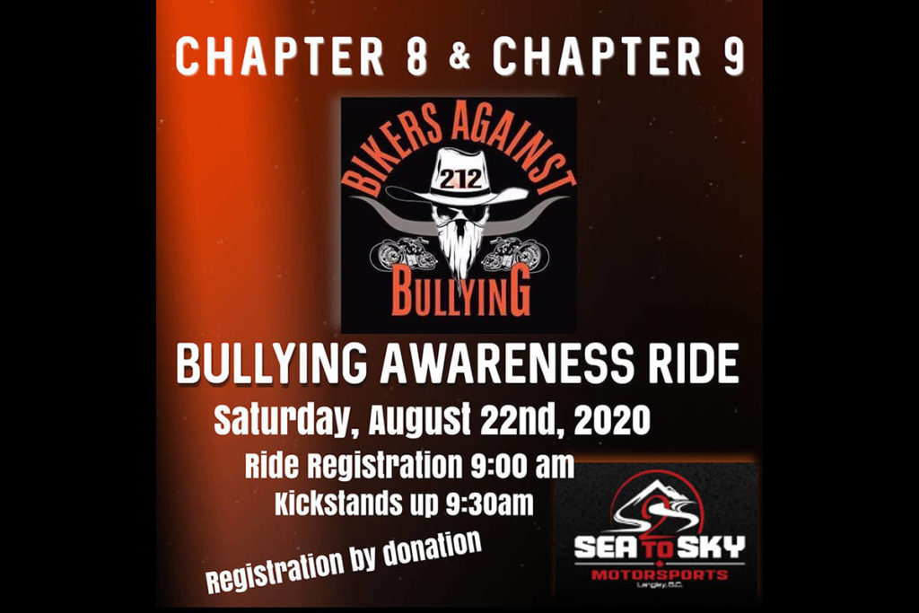 The awareness ride goes from central Langley, north to the Fraser River, east to Abbotsford and back through Aldergrove on Saturday, Aug. 22, 2020. (Bikers Against Bullying graphic)