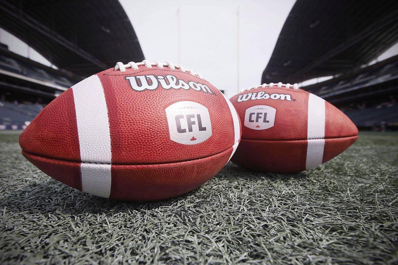 CFL balls are photographed at the Winnipeg Blue Bombers stadium in Winnipeg Thursday, May 24, 2018. The CFL has cancelled its 2020 season because of the COVID-19 pandemic. It marks the first year the Grey Cup won't be presented since 1919. THE CANADIAN PRESS/John Woods