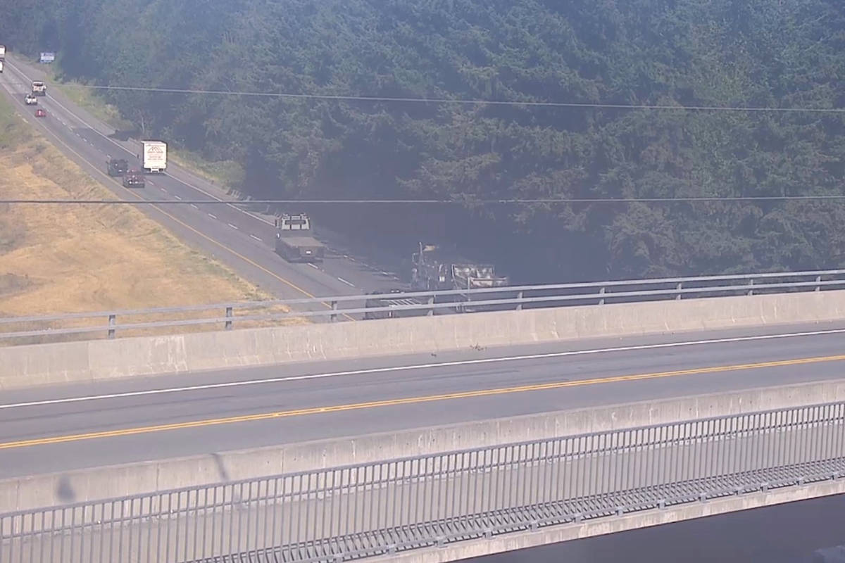 A vehicle incident is blocking the right lane westbound on the Trans Canada Highway at 248th Street in Langley Monday, Aug. 17, 2020. (DriveBC photo)