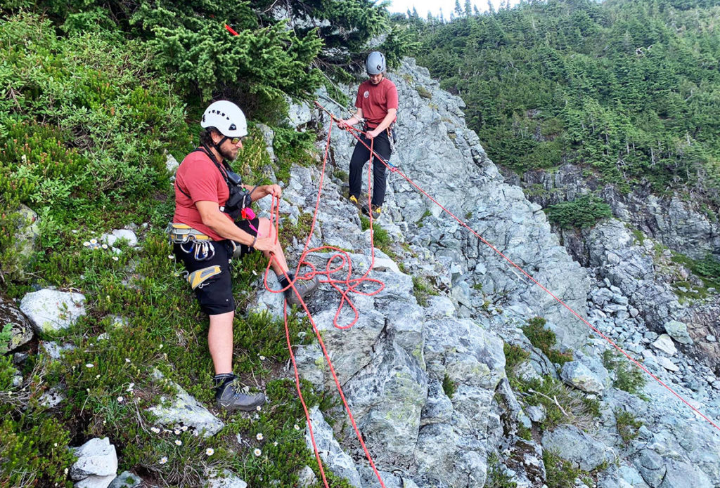 Ridge Meadows Search and Rescue team members used rope and harness to get the lost hiker to a place where she could safely be extracted by helicopter. (Ridge Meadows Search and Rescue)