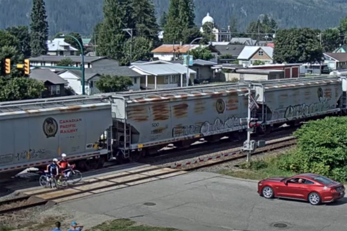 Two cyclists went underneath a train that was stopped at an intersection in Revelstoke Aug. 17. (Virtual Railfan)