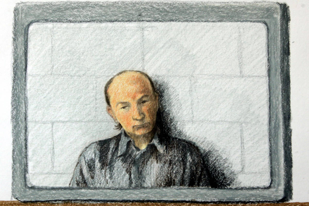 This is a artist's drawing of Robert Pickton appearing on a video link to B.C. Supreme Court in New Westminster, Wednesday May 25, 2005. Pickton was charged with 12 new counts of first-degree murder and now faces 27 charges of murder.(CP PHOTO/Jane Wolsack)