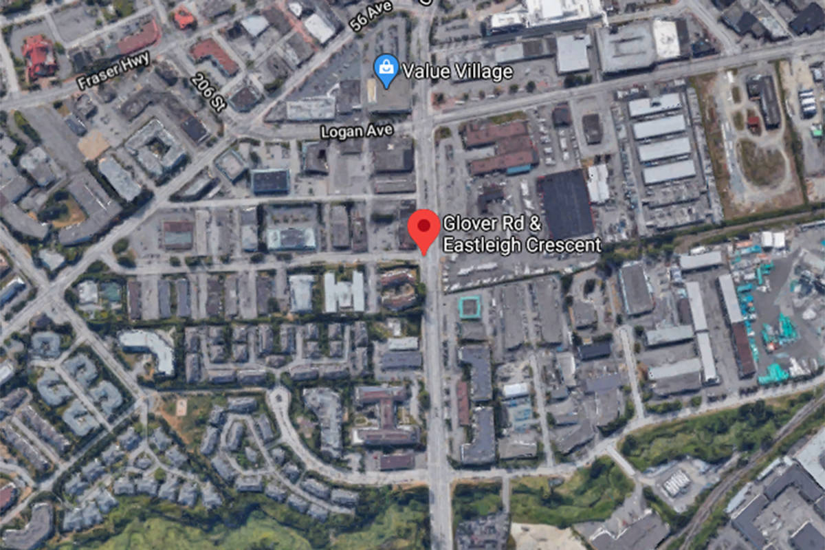 Langley RCMP were called to Glover Road and Eastleigh Crescent on Tuesday, Aug. 19, 2020 around 5:25 p.m. after the driver of a Honda Civic left the scene of a collision involving a motorcycle. (Google Map)