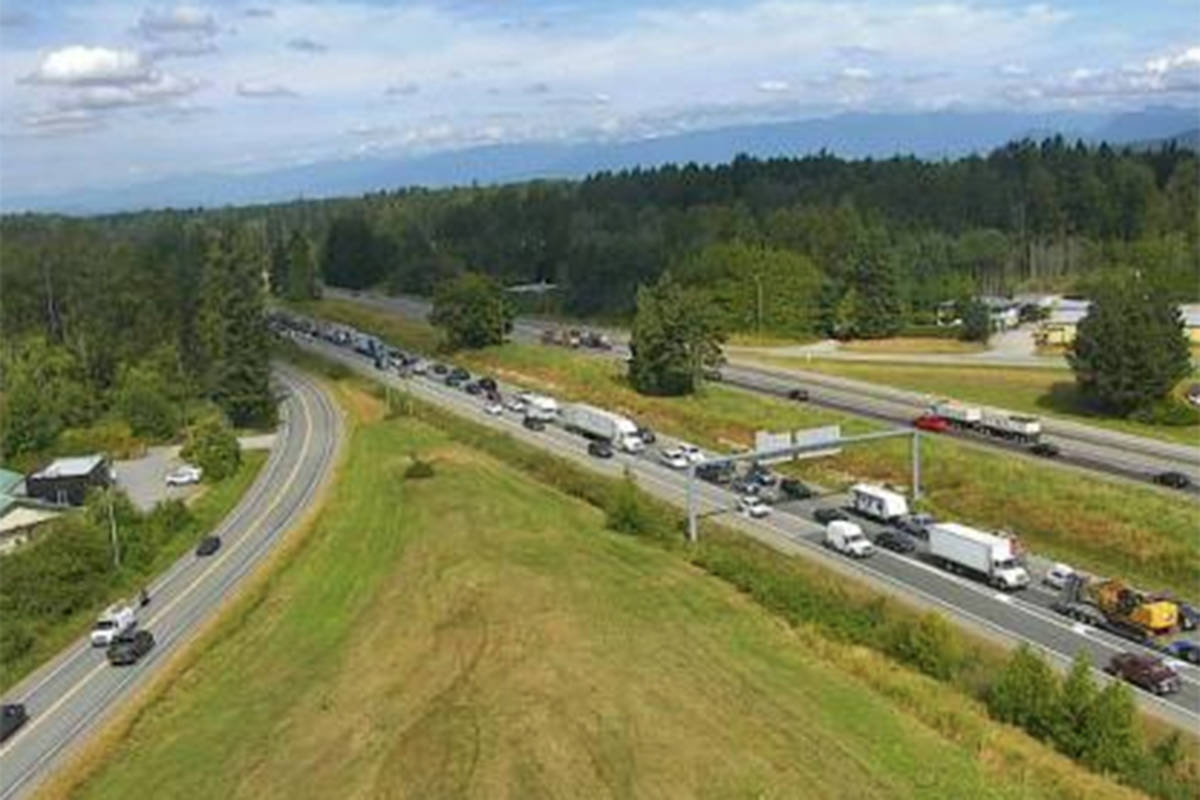 A crash involving two vehicles eastbound on the Trans-Canada Highway east of 264th Street is impacting traffic Wednesday, Aug. 19, 2020. (DriveBC photo)