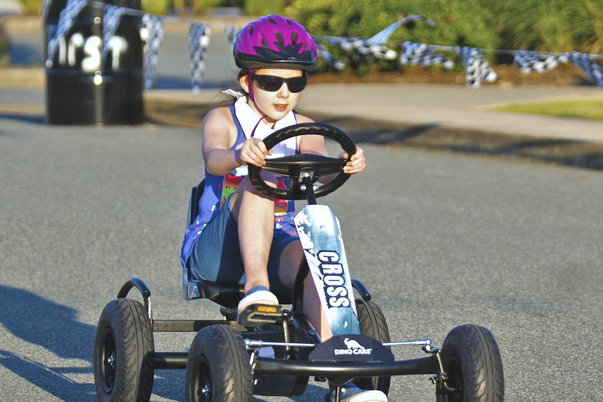 Holly, from Langley, sped down the SouthRidge Speedway in Murrayville this past weekend, followed closely behind by the rest of her family. (SouthRidge/Special to the Advance Times)