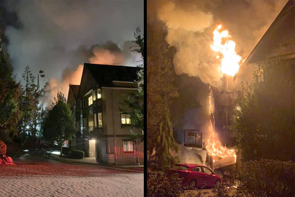 The fire at the townhouse complex on Fraser Crescent in Mission severely damaged five units. Facebook photos.