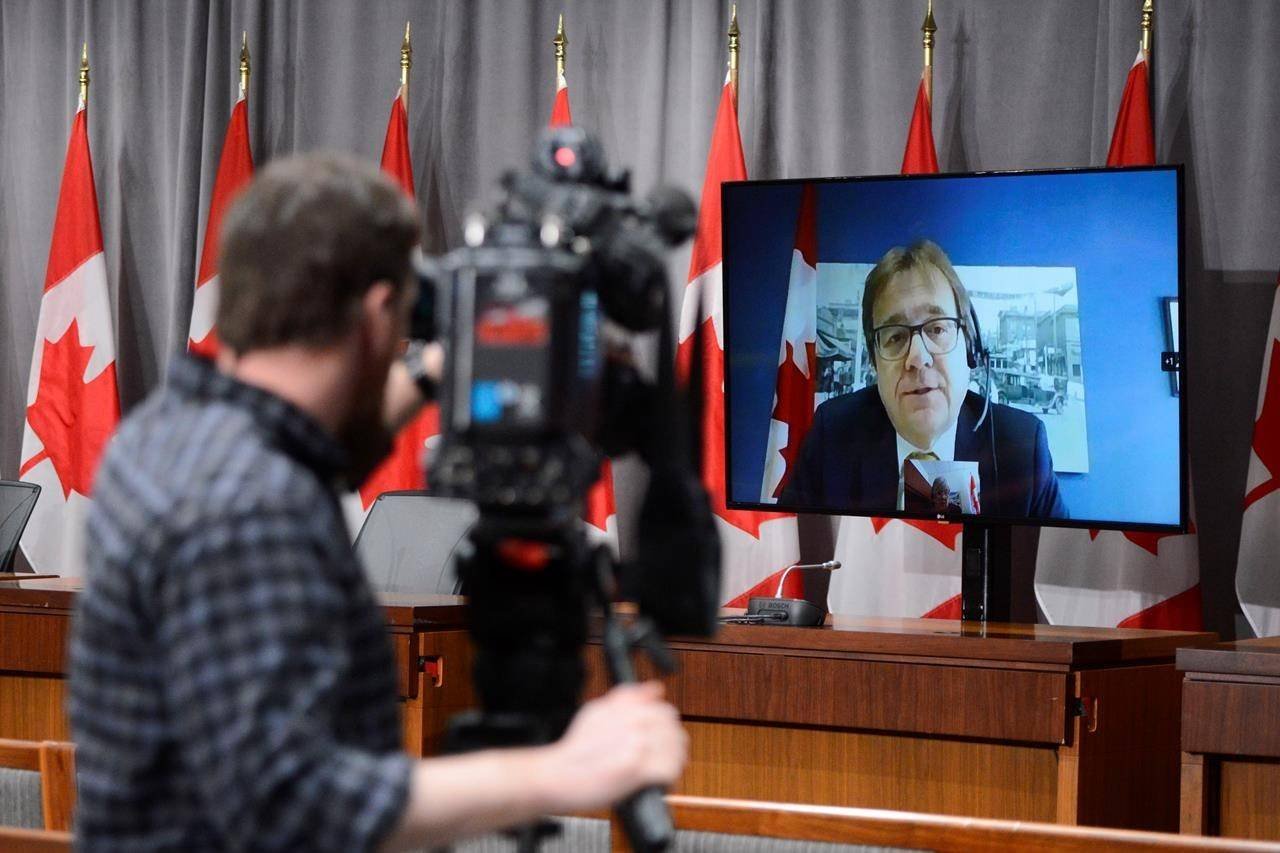 Minister of Environment and Climate Change Jonathan Wilkinson speaks via video link during a press conference on Parliament Hill in Ottawa on May 14, 2020. The federal government has announced it will join in an environmental assessment of a major expansion to proposed southern British Columbia coal mine. A spokeswoman for Environment Minister Jonathan Wilkinson says the decision was made after analyzing the potential of Teck Resources' Castle project to cause adverse effects within areas of federal jurisdiction. THE CANADIAN PRESS/Sean Kilpatrick