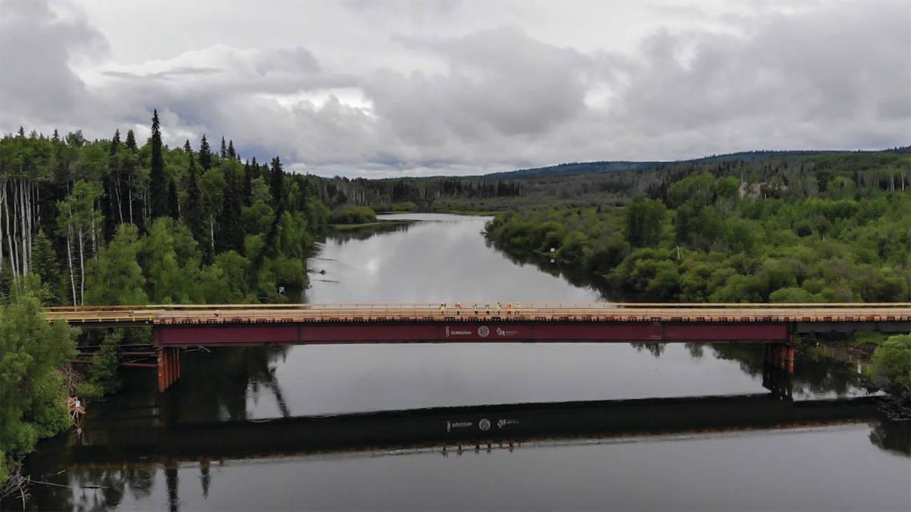 Nak'azdli Development Corp. partnered with Surespan Construction Ltd. to install the 770-foot single-span temporary bridge above the Stuart River. (CGL photo)