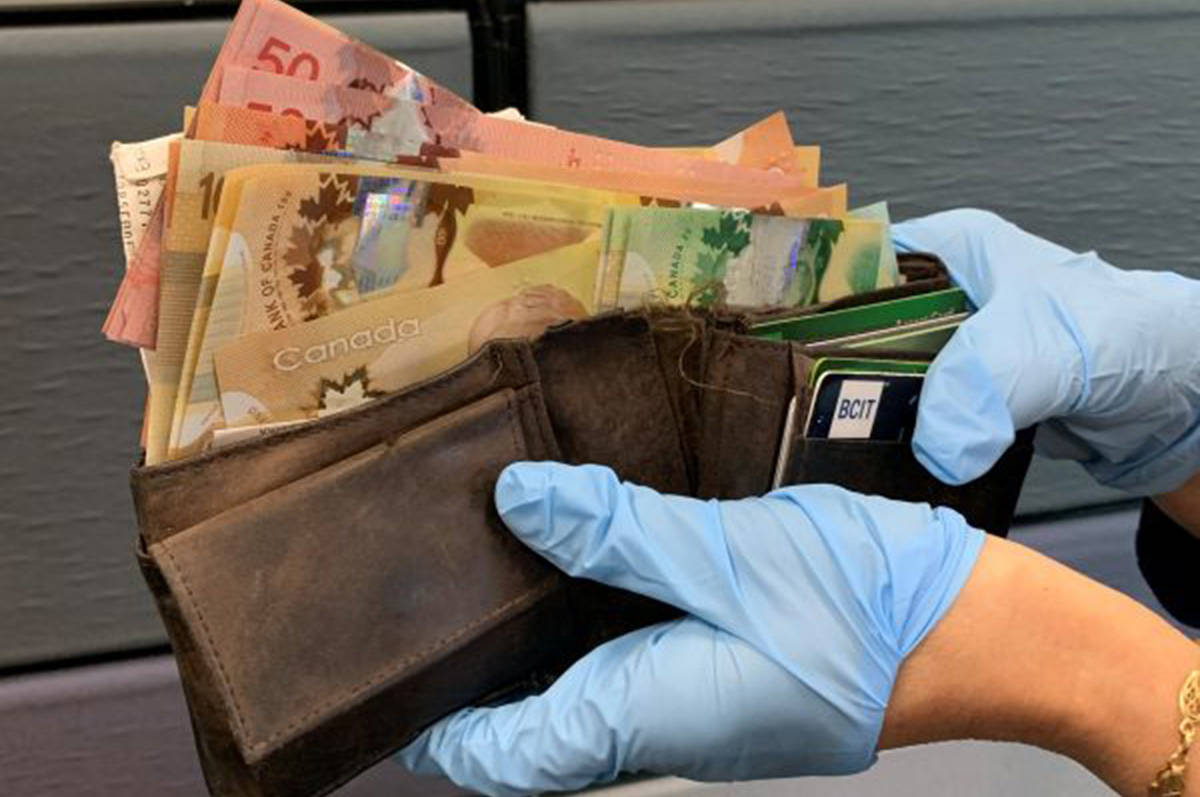 Wallet found with $2,000 in cash in New Westminster in August 2020. (New Westminster Police handout)