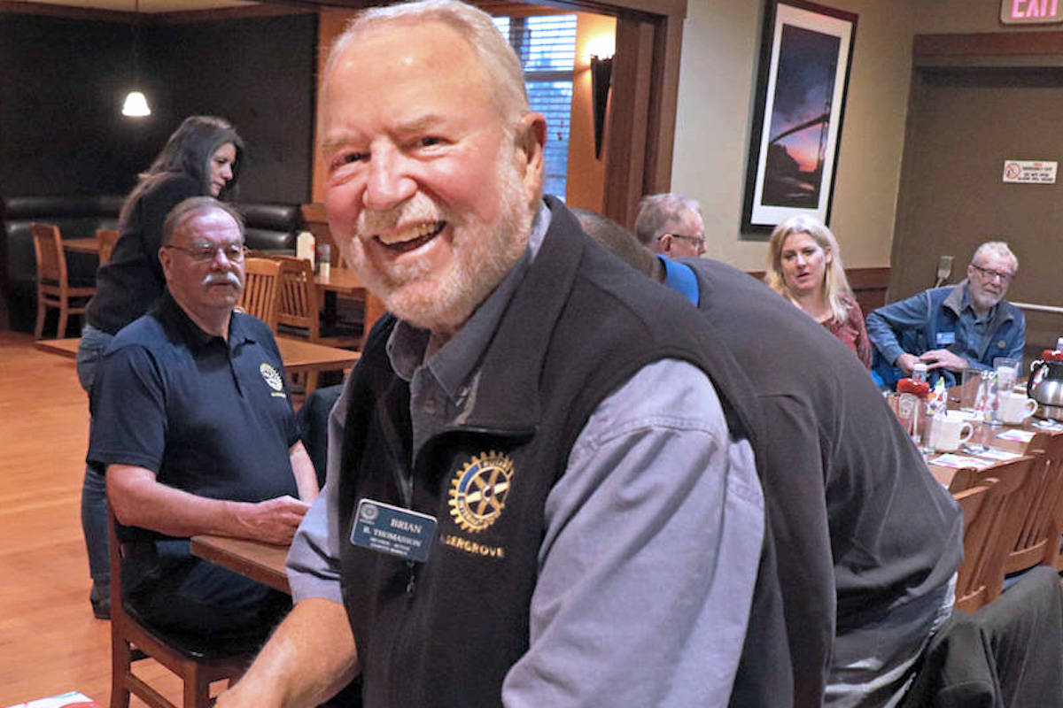 The late founding Aldergrove Rotary president, Brian Thomasson, is hoped to be honoured with a memorial bench in Aldergrove where he enacted many positive changes throughout the years. (Aldergrove Star files)