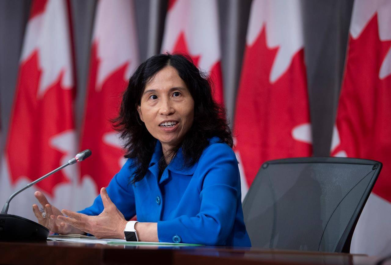 Chief Public Health Officer of Canada Dr. Theresa Tam speaks during a news conference on the COVID-19 pandemic on Parliament Hill in Ottawa, on Friday, Aug. 21, 2020. THE CANADIAN PRESS/Justin Tang