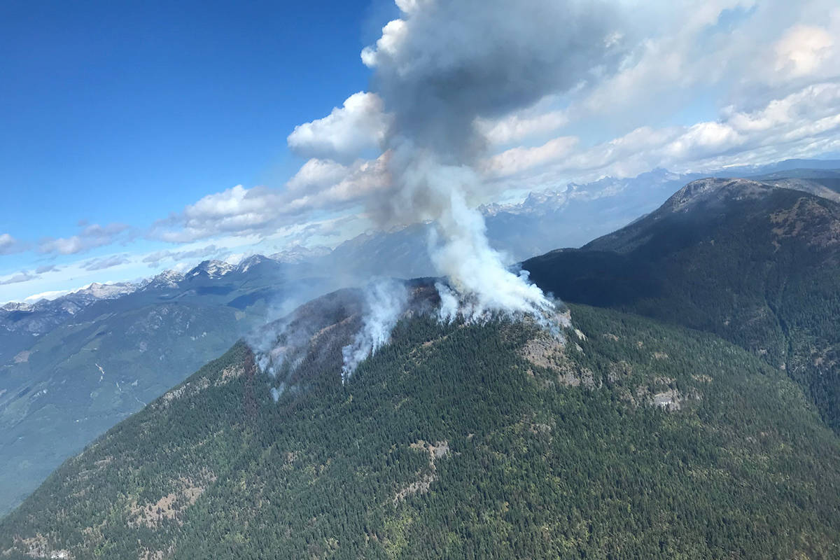 The Talbot Creek wildfire in the Slocan Valley on Saturday, Aug. 22, 2020. (BC Wildfire Service)