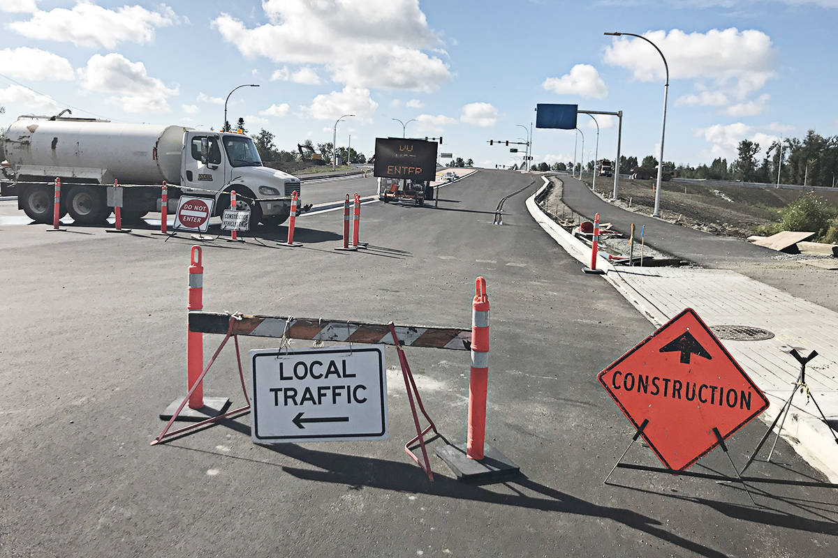 The 216th Street Interchange, seen from the north side on Saturday, Aug. 22, is expected to be opened at the end of the summer. (Matthew Claxton/Langley Advance Times)