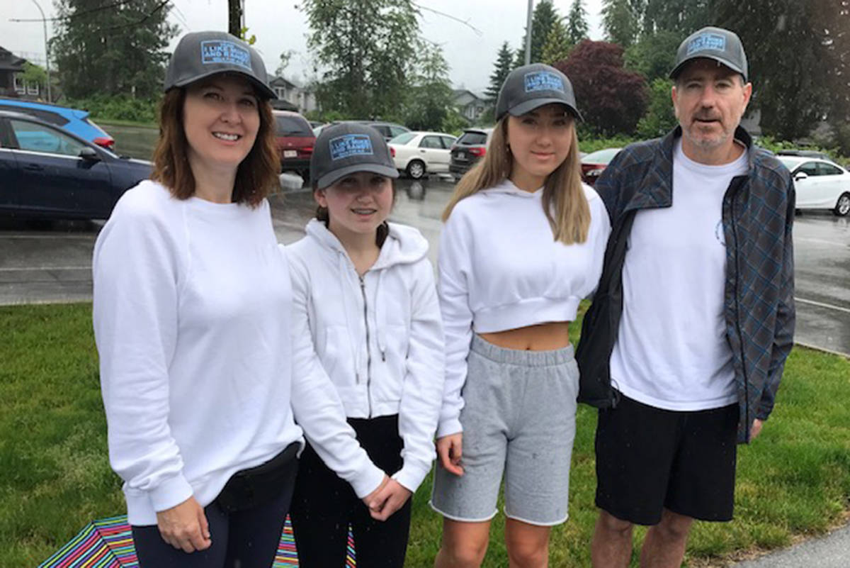 Rob and Traci MacLean pose with their daughters at the ALS walk at Merkely Park in Maple Ridge Saturday, June 20. (Special to THE NEWS)