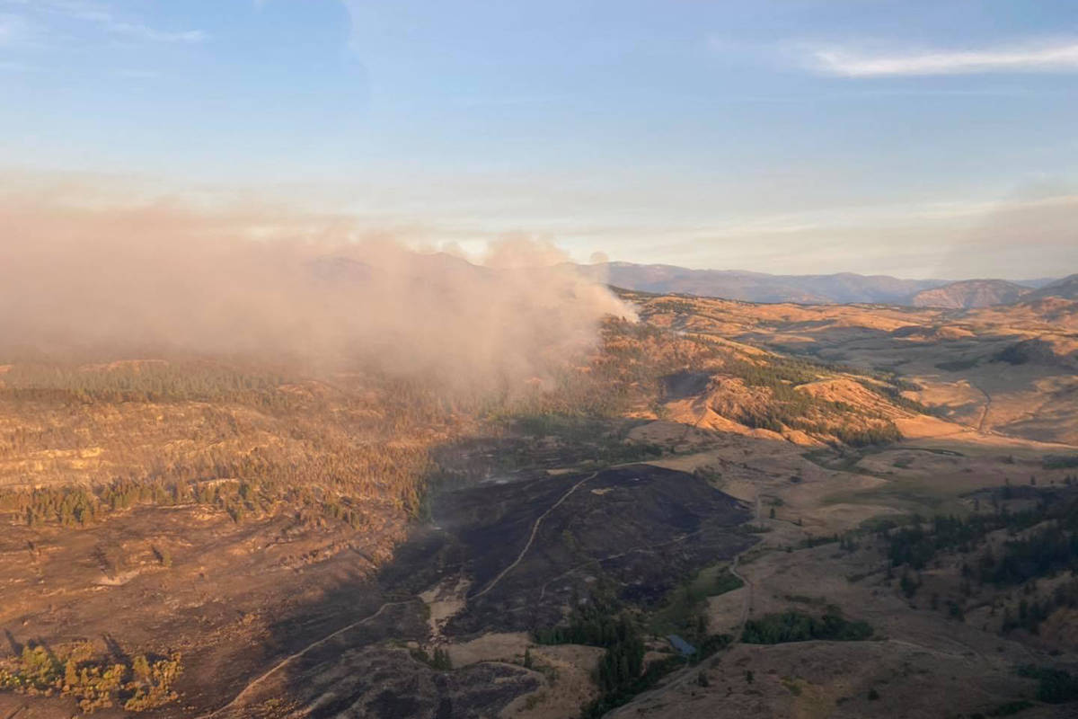 The Palmer Lake wildfire as seen on Sunday, Aug. 23, 2020. (Okanogan County Emergency Management)