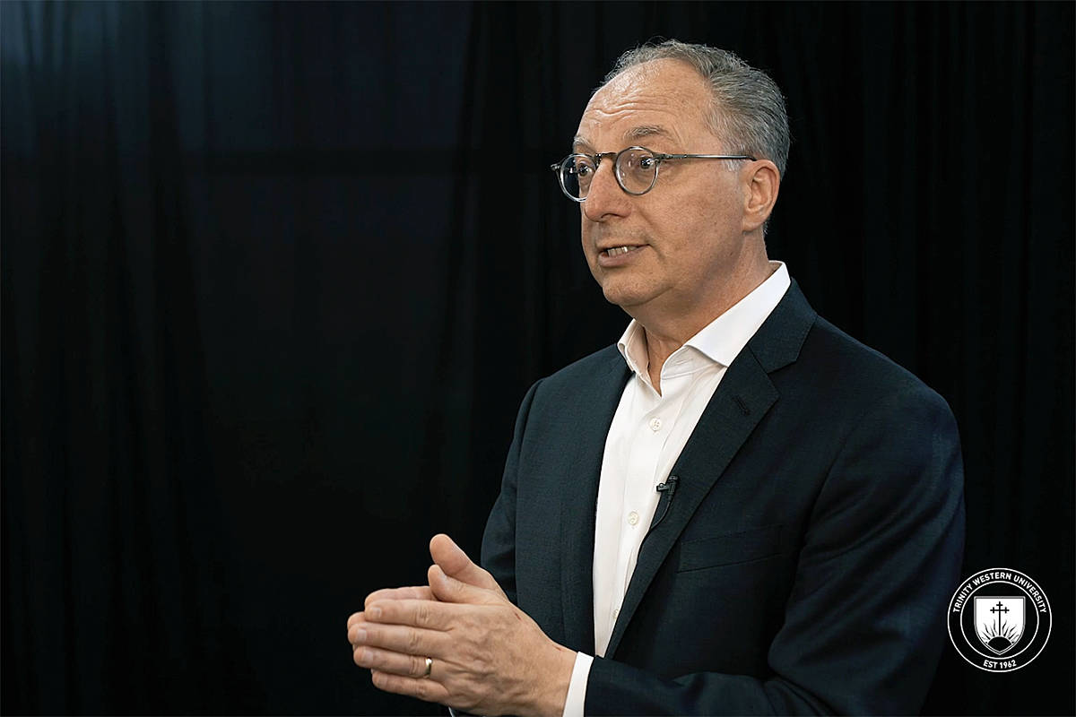 Trinity Western University president Dr. Mark Husbands delivered a virtual message of encouragement at the Langley-based university's annual Community Day celebration of staff and faculty on Monday, Aug. 24, 2020 ( TWU/Special to Langley Advance Times)