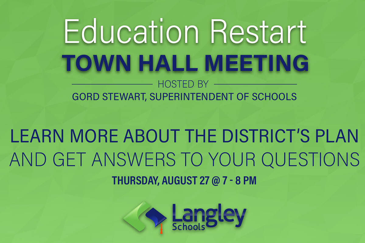 After releasing its back-to-school restart plan the Langley School District is hosting a virtual town hall meeting Thursday, Aug. 27, 2020. (Langley School District)