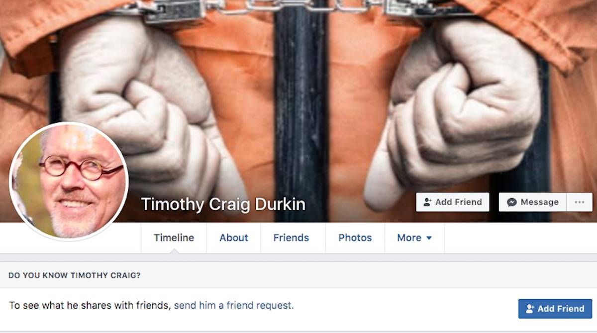 """Former Sooke hotel operator Timothy Durkin is suing Facebook for $50 million over an """"imposter account"""" that is trolling him. (Facebook)"""