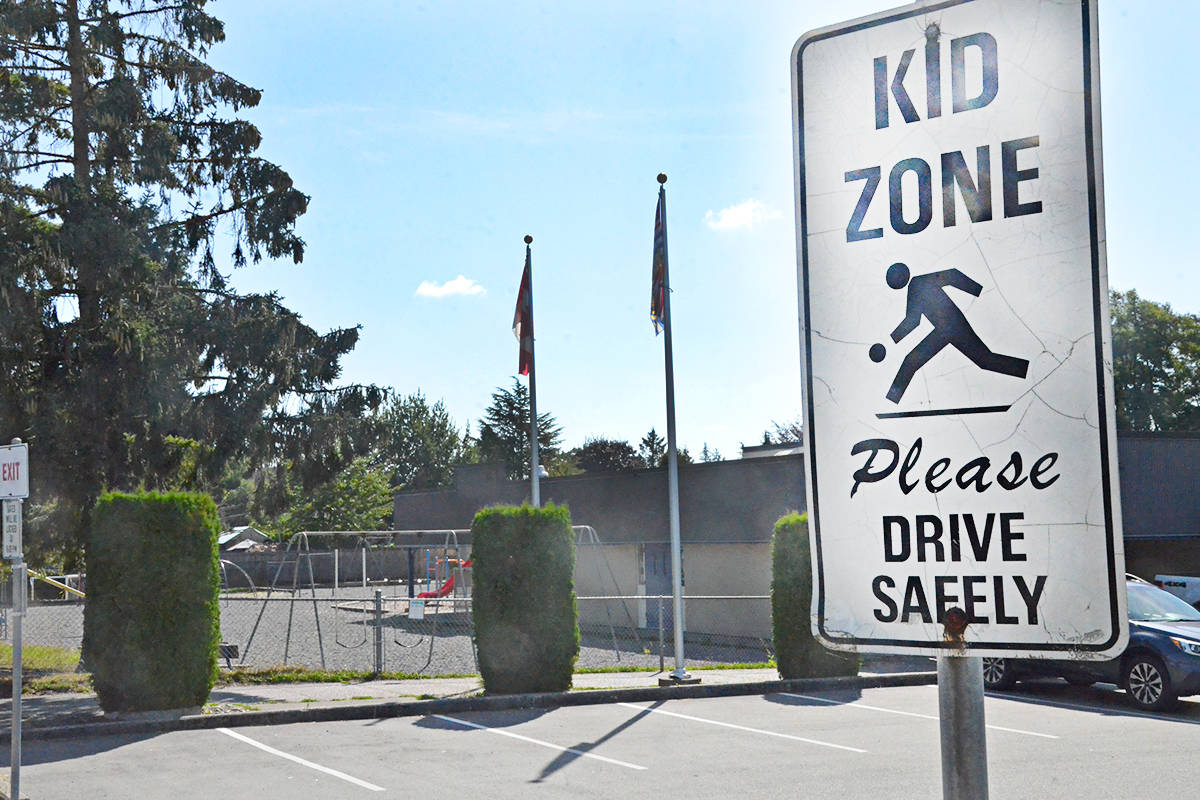 The parking lot at Langley's Nicomekl Elementary. School is set to resume for students on Sept. 10, but parents are currently being surveyed on their plans. (Langley Advance Times files)