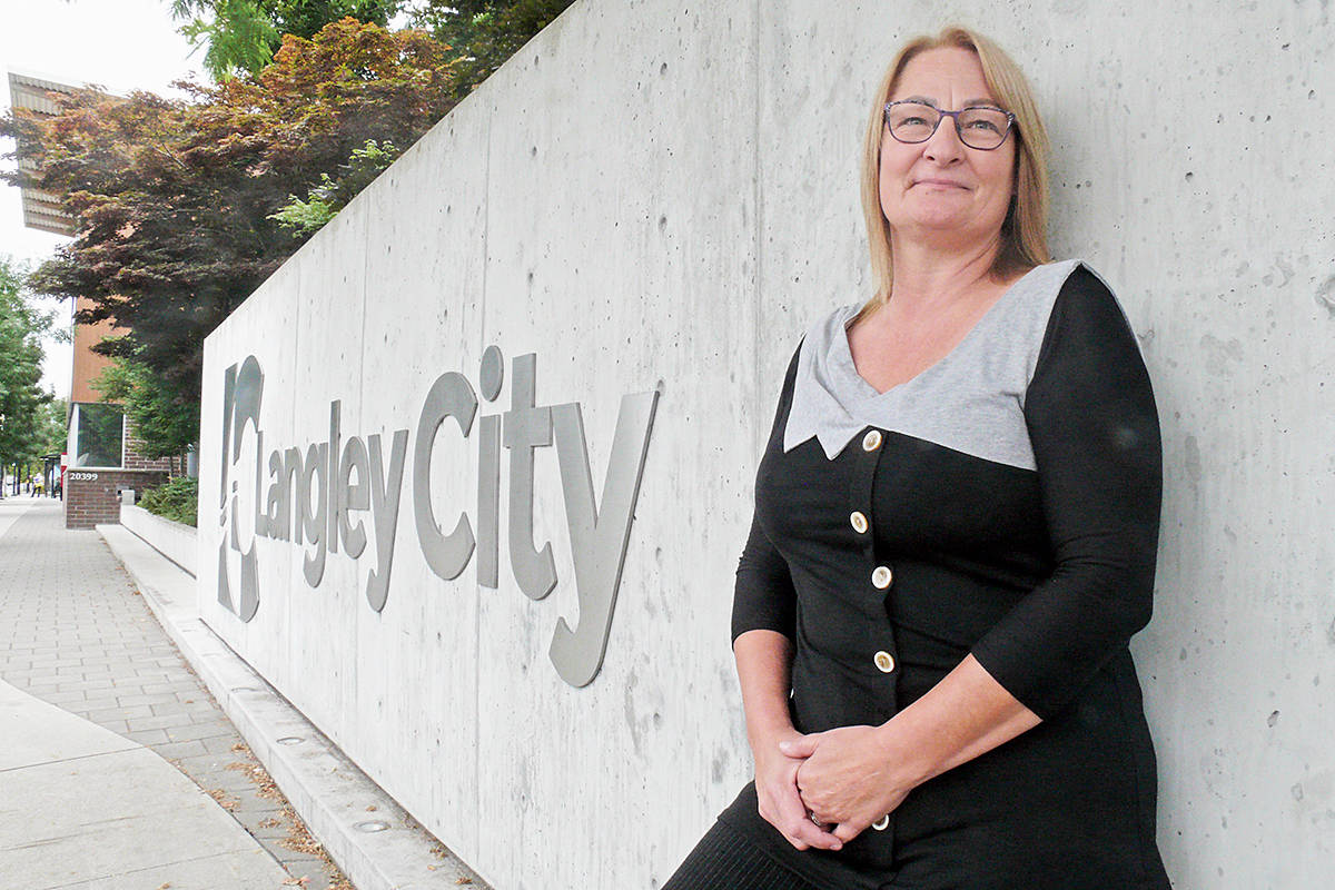 Almost every business in Langley was called during an ambitious survey about COVID-19 impacts in July 2020 by Langley City Economic Development Task Group that put every member of council on the phone, including task force chair Teri James, seen here outside City Hall on Tuesday, Sept. 1. Results are being analyzed and a report is expected around the end of September 2020. (Langley Advance Times file)