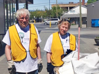 Marcel and Genevieve Perchotte say they've enjoyed meeting lots of local people as part of the volunteer clean up program in Langley City. (Perchotte/Special to the Langley Advance Times)