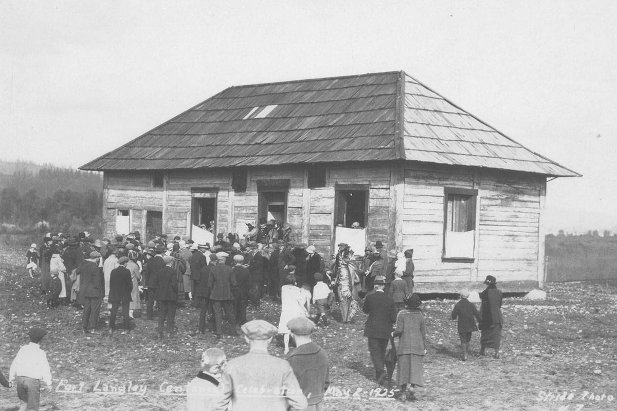 Crowds celebrating the Fort Langley Centennial in 1925 with a visit to the newly opened museum in the remaining HBC Storehouse. The curtains were put up to ensure everyone had to pay admission to see what was inside. (Langley Centennial Museum collection/ Special to the Langley Advance Times)