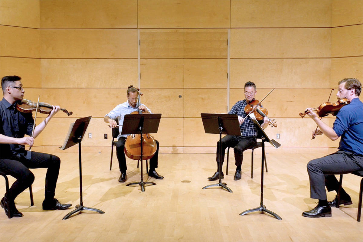 Established in 2016, the Rose Gellert String Quartet is ensemble in residence at LCMS, and has given performances as part of LCMS' concert series as well as throughout the Fraser Valley. Founding members Will Chen and Llowyn Ball (violin), Peter Ing (viola), and Ben Goheen (cello) are all active musicians, teachers, and music coaches throughout Vancouver and the Lower Mainland. (LCMS/Special to the Langley Advance Times)