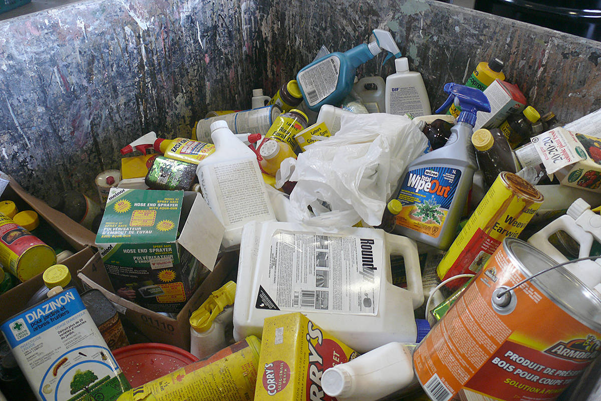 Some of the hazardous waste dropped off during the 2019 event in Langley (Langley Advance Times file)