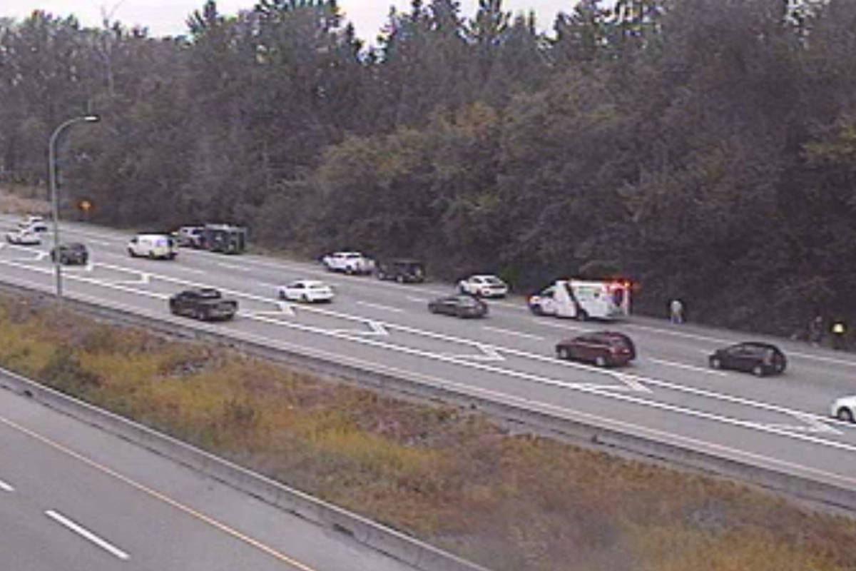 Emergency crews are on scene of a vehicle incident westbound on the Trans-Canada Highway between 200th Street and 176th Street Tuesday, Sept. 1, 2020. (DriveBC Photo)