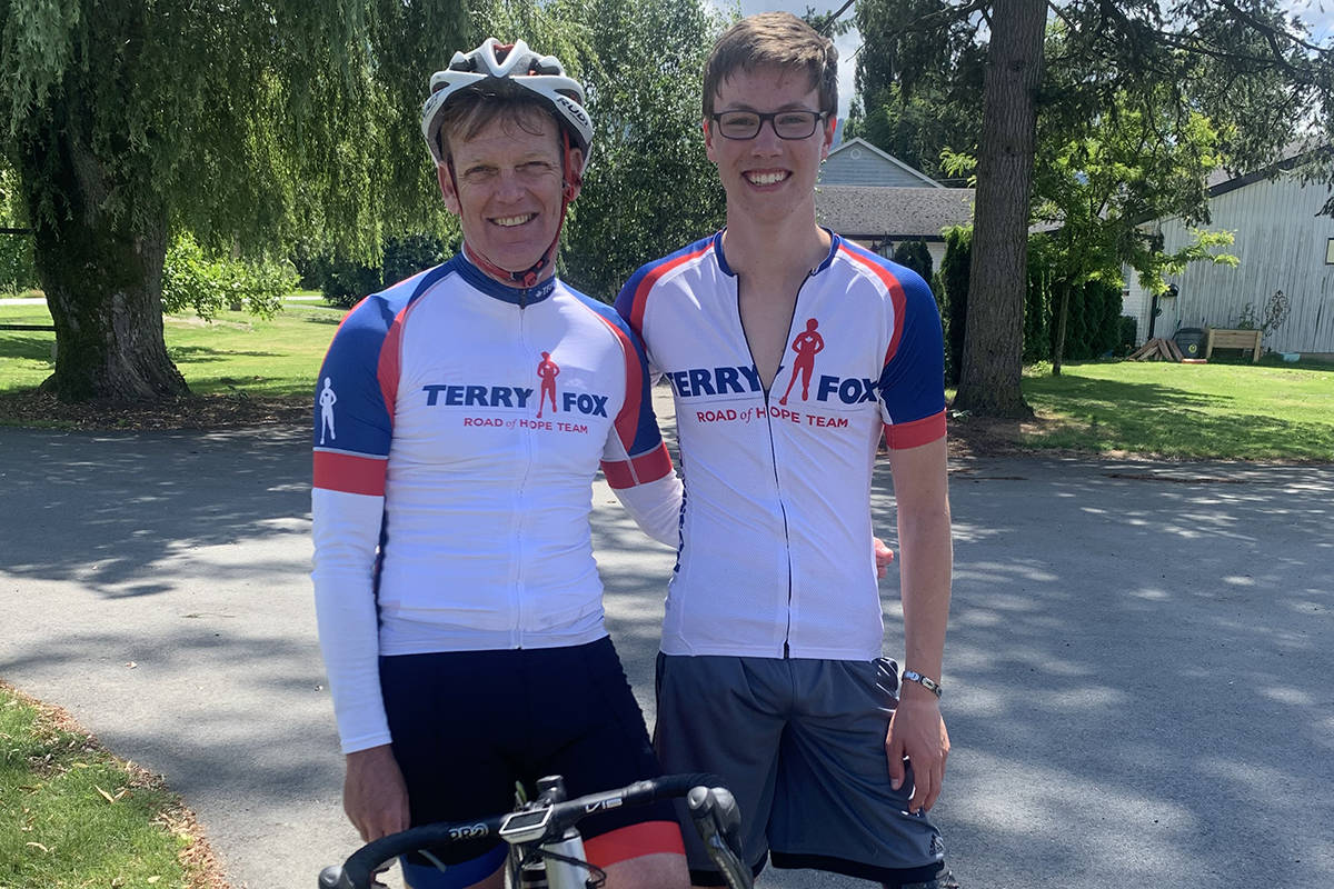 Abbotsford's Jacob Bredenhof, shown here with Darrell Fox (brother of Terry Fox), will be participating in the Pedal of Hope fundraiser on Sept. 19. (Submitted)