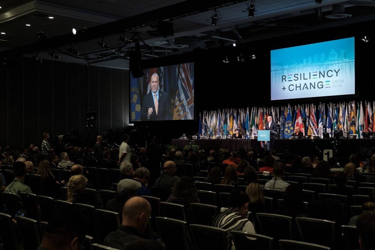 Premier John Horgan speaks to delegates at Union of B.C. Municipalities convention, Vancouver, Sept. 27, 2019. This year's convention will be a virtual affair, broadcast from Victoria Sept. 22-24. (B.C. government)