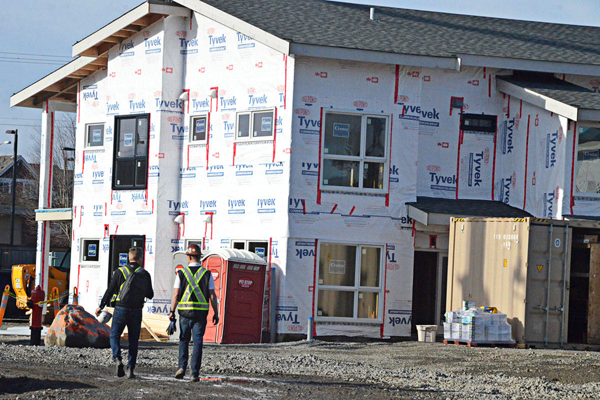 Townhouses under construction as part of the Emmaus Place affordable housing project in Langley Township on Nov. 13, 2019. (Langley Advance Times files)