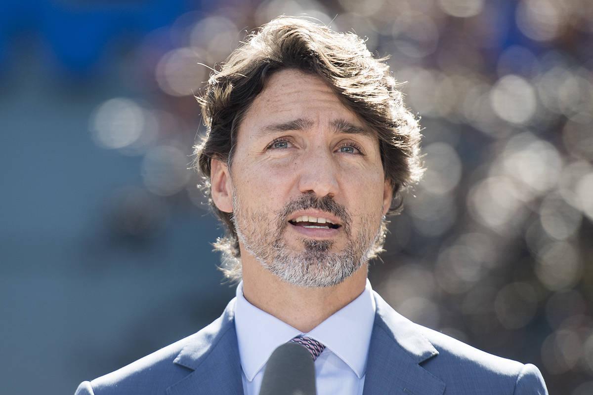 Prime Minister Justin Trudeau speaks to reporters during a news conference following a visit to the National Research Council of Canada (NRC) Royalmount Human Health Therapeutics Research Centre facility in Montreal, Monday, Aug 31, 2020. THE CANADIAN PRESS/Graham Hughes