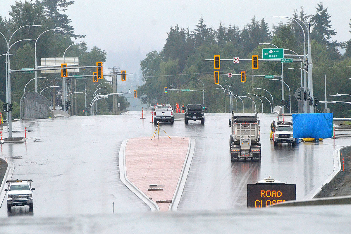 Work is expected to wrap up soon on the new 216th Street interchange, where it will connect with the Trans-Canada Highway. (Langley Advance Times files)