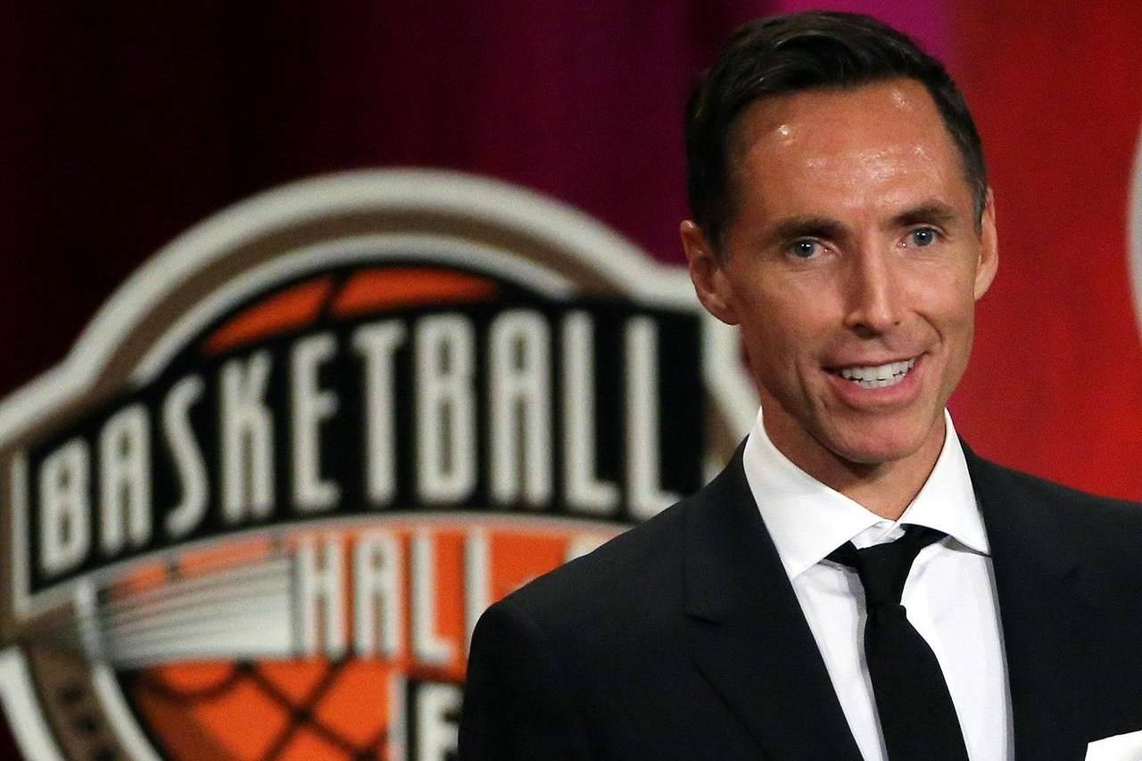 FILE - In this Sept. 7, 2018, file photo, Steve Nash speaks during induction ceremonies at the Basketball Hall of Fame, in Springfield, Mass. The Brooklyn Nets hired Steve Nash as their coach Thursday, Sept. 3, 2020, putting the Hall of Fame point guard in charge of the team that hopes to have Kevin Durant and Kyrie Irving together next season. (AP Photo/Elise Amendola, File)