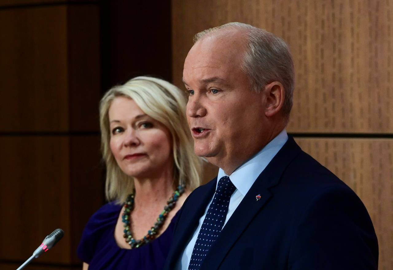 Conservative Leader Erin O'Toole introduces his Deputy Leader Candice Bergen as they holda a press conference on Parliament Hill in Ottawa Wednesday, Sept. 2, 2020. THE CANADIAN PRESS/Sean Kilpatrick