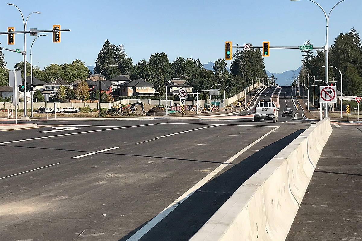 It's official. It's open. The new 216th Street interchange to the Trans-Canada Highway is open to vehicle, bicycle, and pedestrian traffic. (Matthew Claxton/Langley Advance Times)