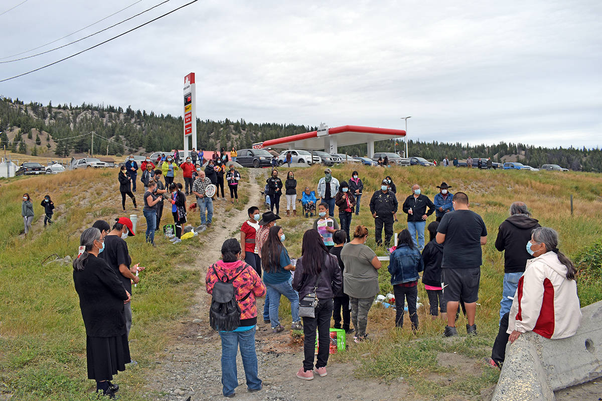 A candlelight vigil was held near the Redstone Gas Bar on Wednesday, Sept. 2 for 17-year-old Nevada Billy. Tsideldel First Nation Chief Otis Guichon called her death a tragedy. (Rebecca Dyok photo)