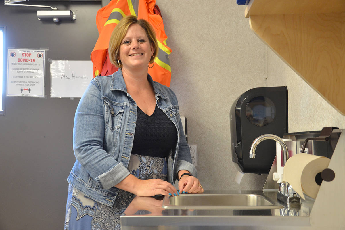 Sinks have been installed in the portables at Lynn Fripps Elementary so students and staff can wash often. (Heather Colpitts/Langley Advance Times)