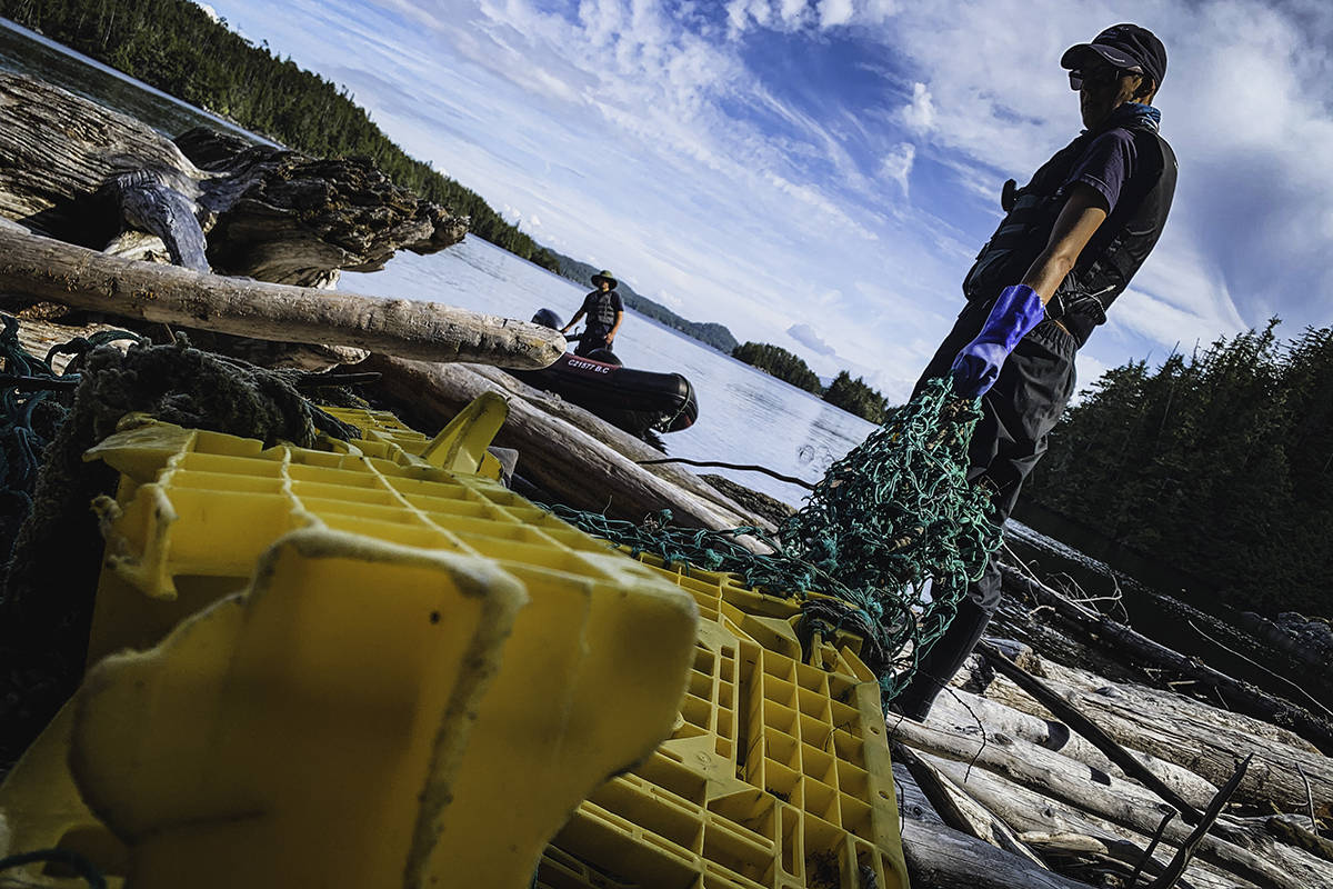 Washed up plastics on log fields. (Simon Ager / Maple Leaf Adventures photo)