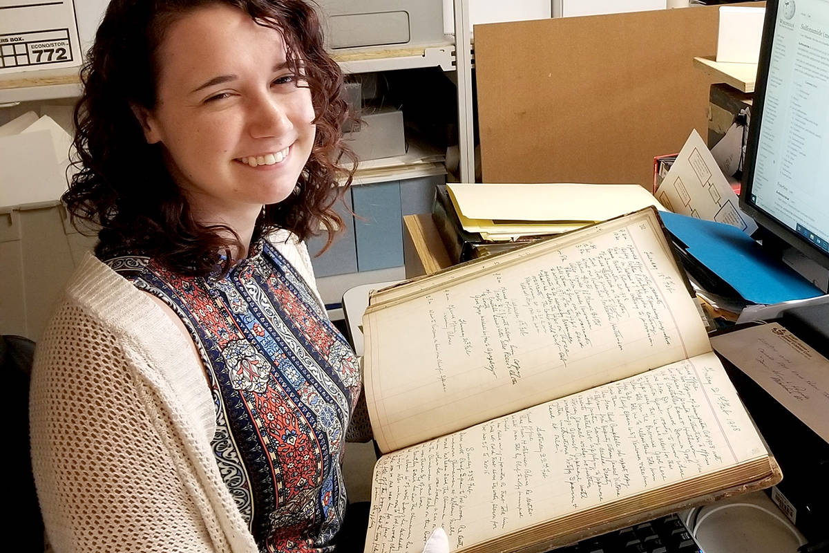 Summer student Natalie Reddy has been scanning archival documents for volunteers to transcribe to help enhance accessibility to information at Langley Centennial Museum. (Township of Langley/Special to the Langley Advance Times)