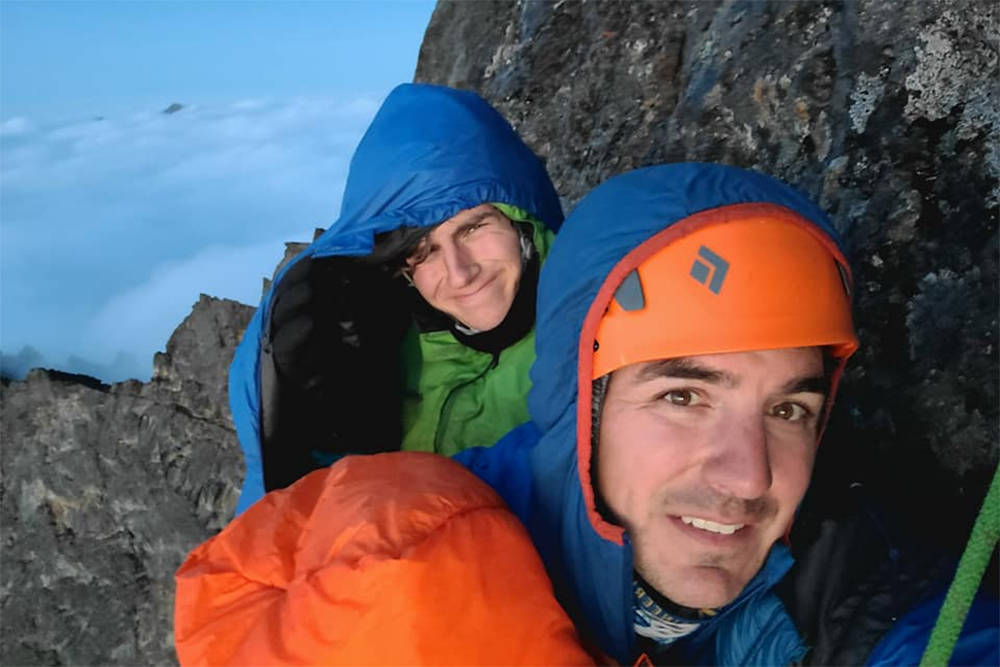 Adam Wilkie, front, and his son Xander Wilkie spent the night on the face of Slesse Mountain near Chilliwack on Aug. 30, 2020 after the elder Wilkie suffered a fall. (Submitted/ Adam Wilkie)