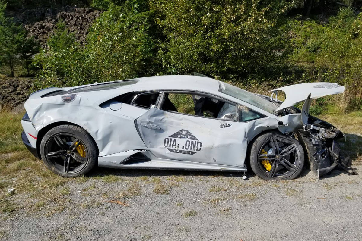 A Lamborghini was headed north on the Sea-to-Sky when hit the median and crossed over to hit a Toyota crossover, RCMP said. (Whistler RCMP)