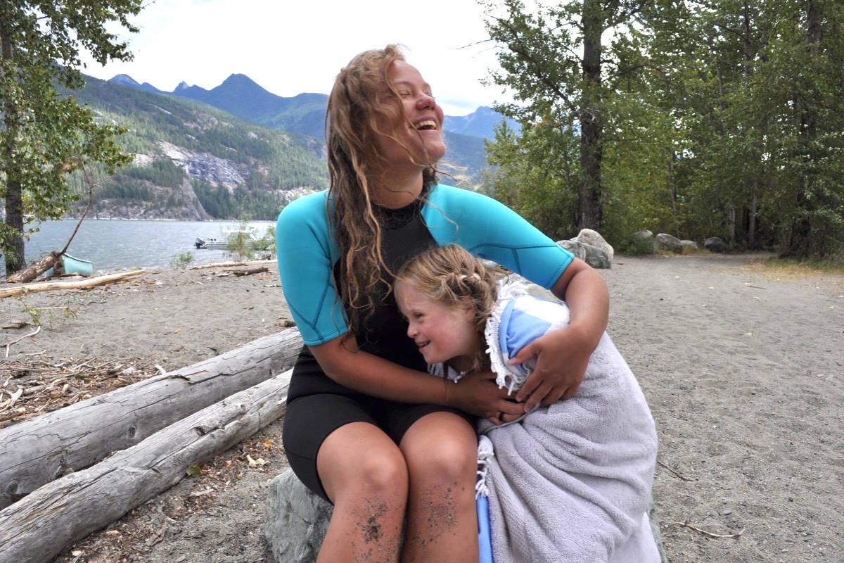 Ida Jenss and Lily Nay swam across Kootenay Lake near Kaslo on Thursday. Photos: Tyler Harper