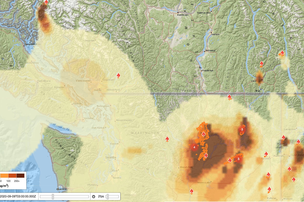 Blue Sky Canada Smoke Forecasting System is showing that local smoke is coming from fires in Washington, in forecast modeling from Sept. 8, 2020 (Blue Sky Canada)
